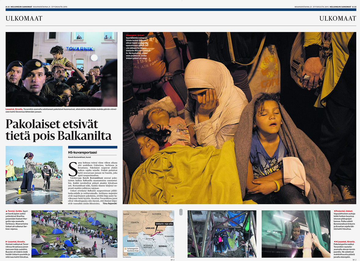 Helsingin Sanomat, Reportage on refugee situation in the Balkans - September 21, 2015