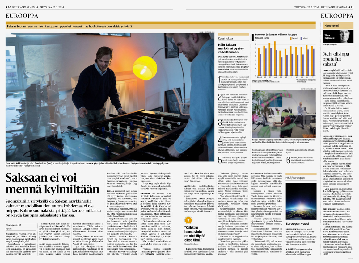 Helsingin Sanomat, Story on Start-up businesses in Berlin, Pages 20-21 - February 23, 2016