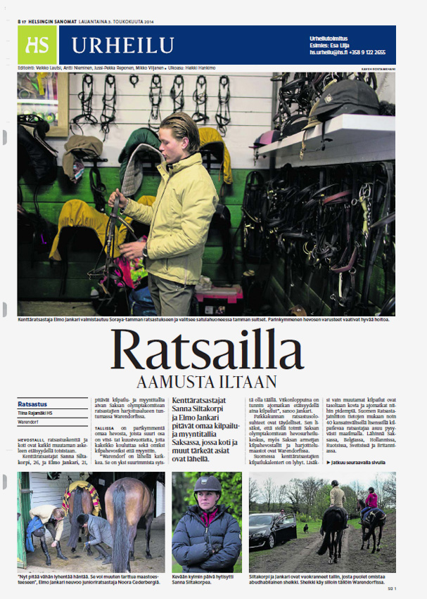 Helsingin Sanomat, Sports feature, May 3, 2014