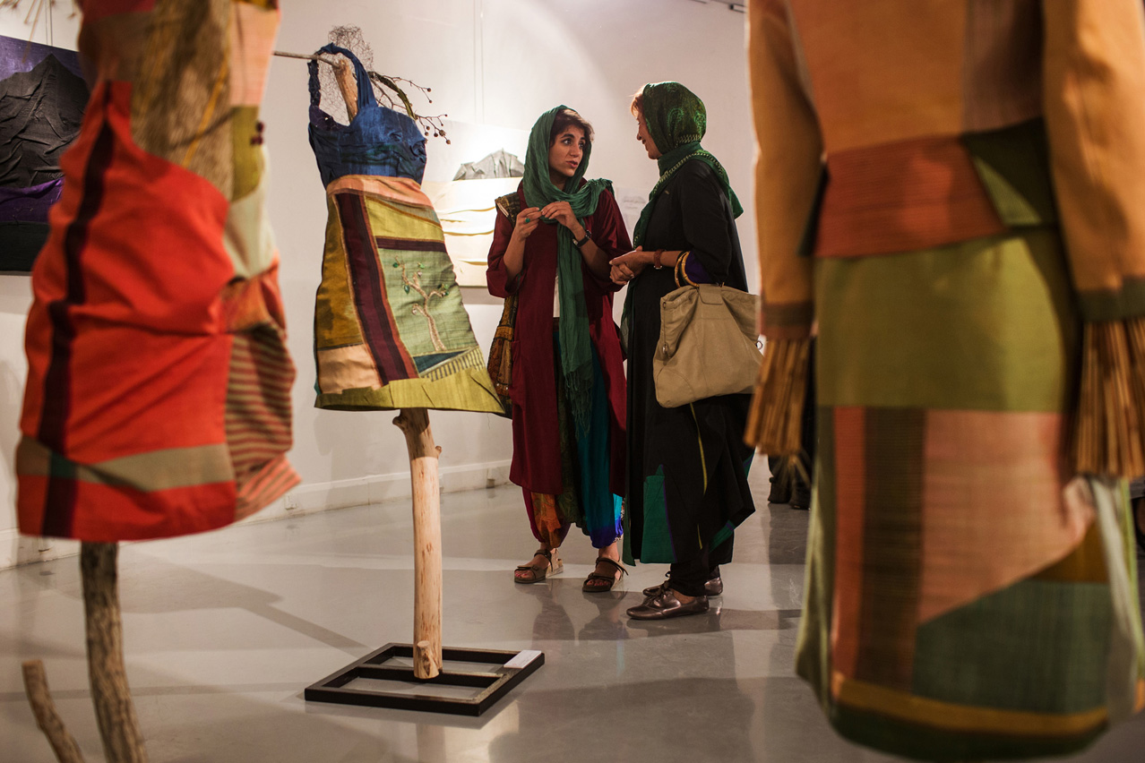 "During an exhibition of modern clothing in the ""Artist's house"" in Tehran fashion made by the young designer Asadeh Yasaman is presented."