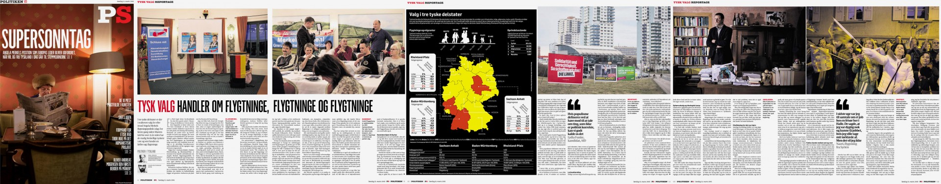Politiken on Sunday, Title Story on German regional Elections, March 13, 2016