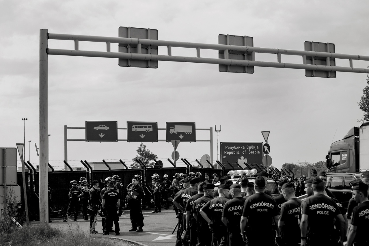 Authorities closed the Röszke border crossing between Hungary and Serbia to prevent refugees from trespassing.