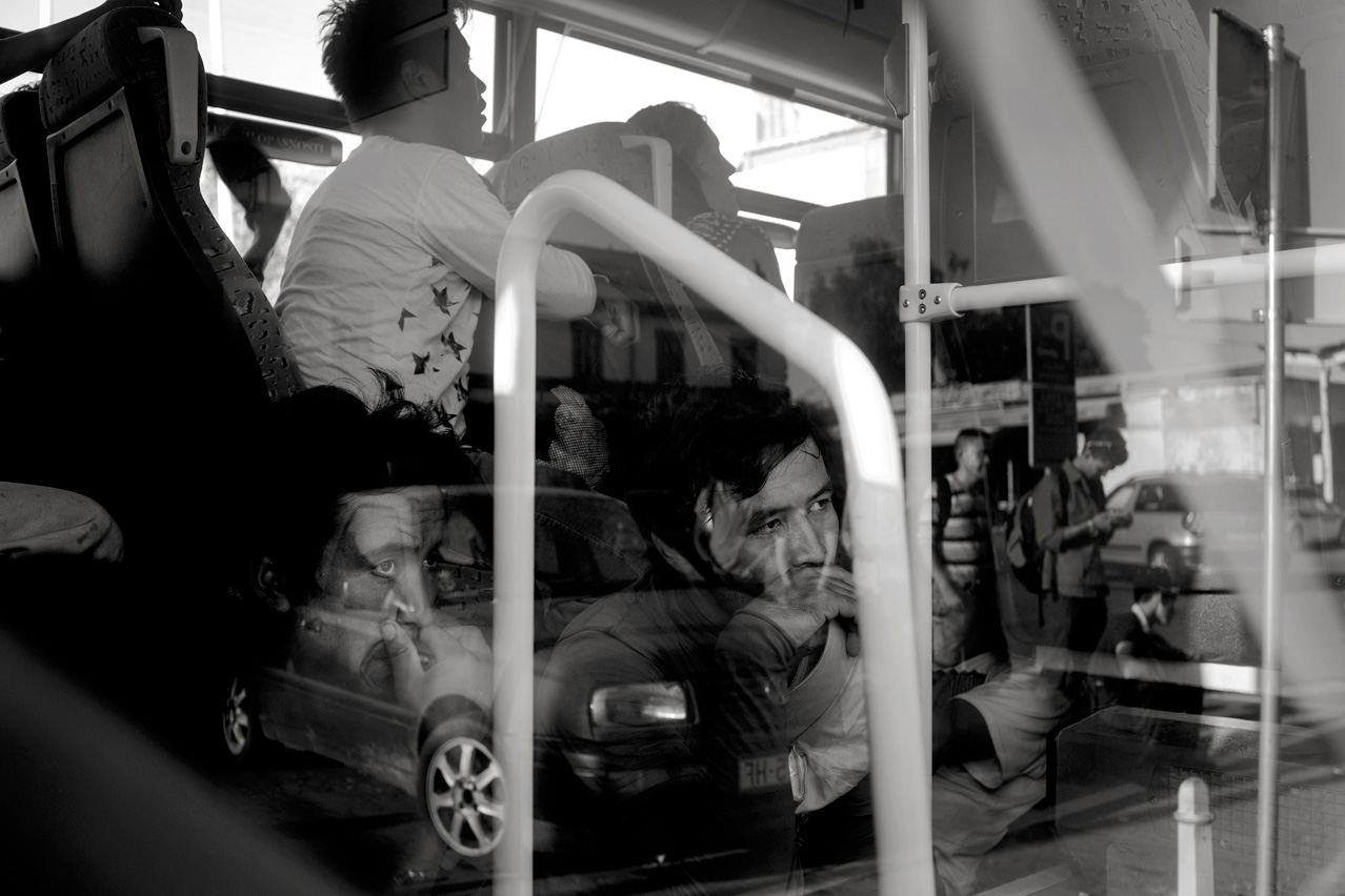 Refugees stranded in Croatia are put into busses by authorities at the Osijek train station to be taken to the Hungarian border.