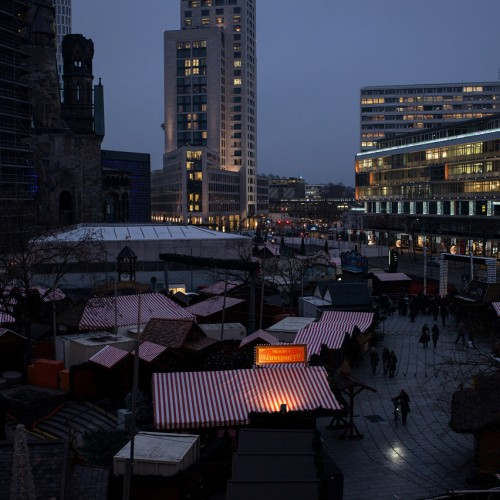 20122016, Berlin, Germany. A day after the lorry attack on the Christmas market at Breitscheidplatz, a tense security atmosphere was dominating the site. The market stayed closed. Photo: Kaveh Rostamkhani