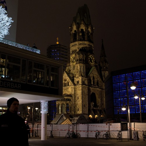 20122016, Berlin, Germany. A day after the lorry attack on the Christmas market at Breitscheidplatz a tense security atmosphere was built at the site. Photo: Kaveh Rostamkhani