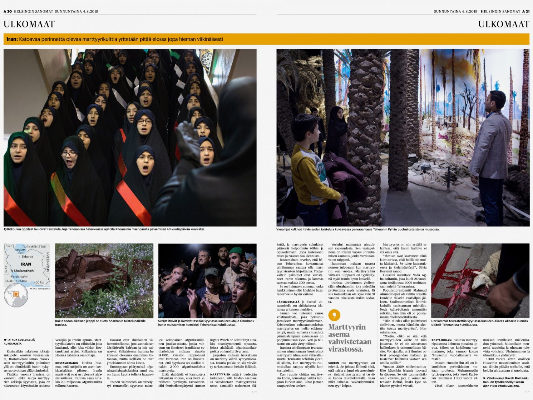 Helsingin Sanomat, Personal Project on Martyrdom in Iran, August 4th 2019