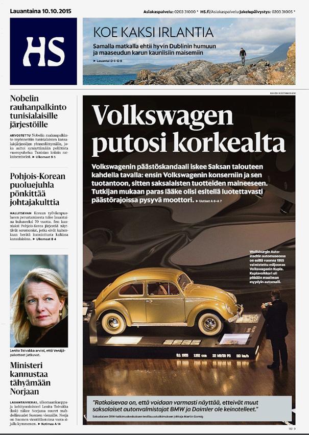 Helsingin Sanomat, Title Story on Volkswagen Crisis, Front Page - October 10, 2015