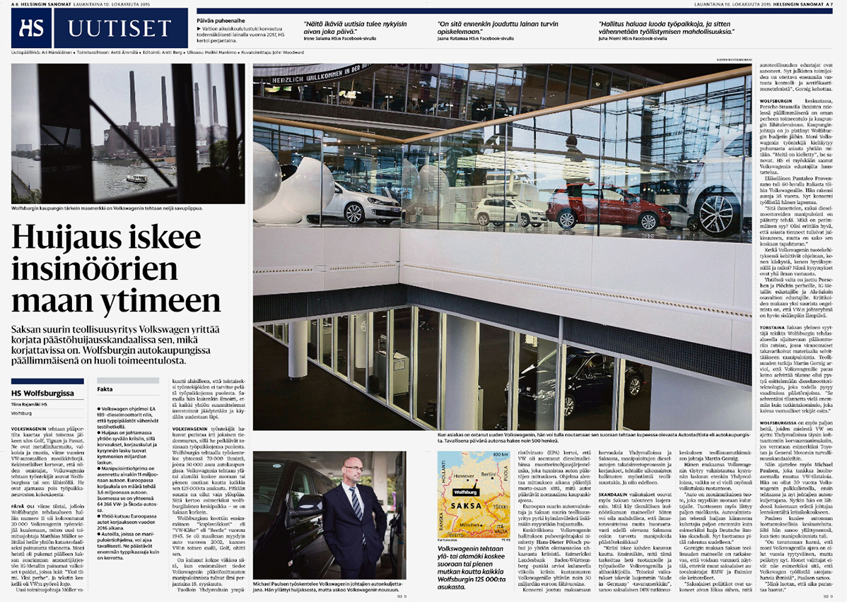 Helsingin Sanomat, Title Story on Volkswagen Crisis, Pages 6-7 - October 10, 2015