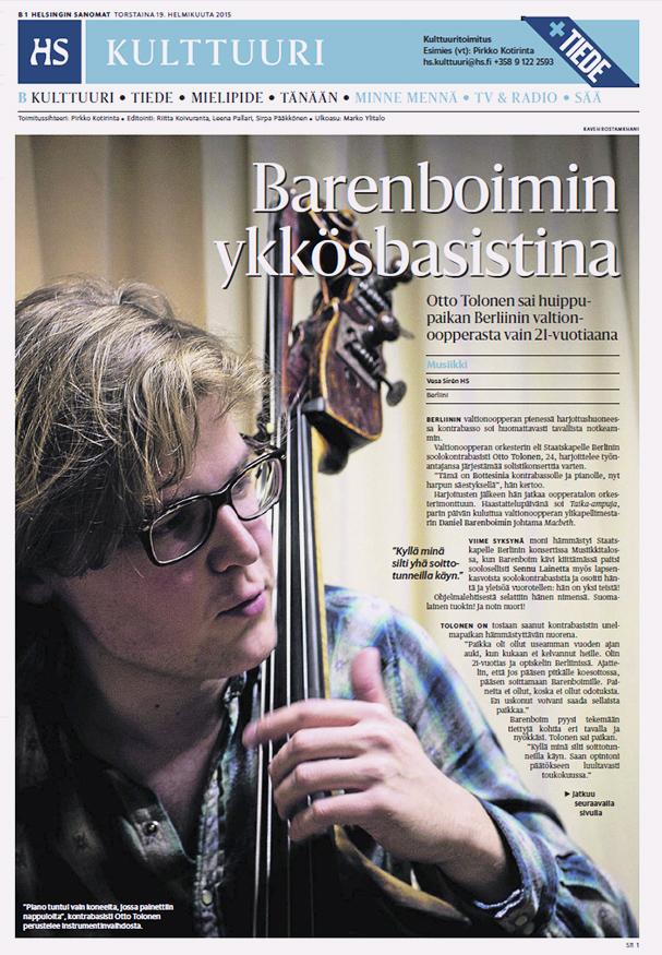 Helsingin Sanomat, Culture, February 19, 2015