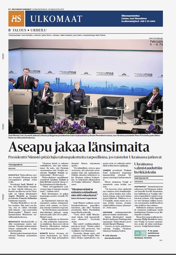 Helsingin Sanomat, February 8, 2015