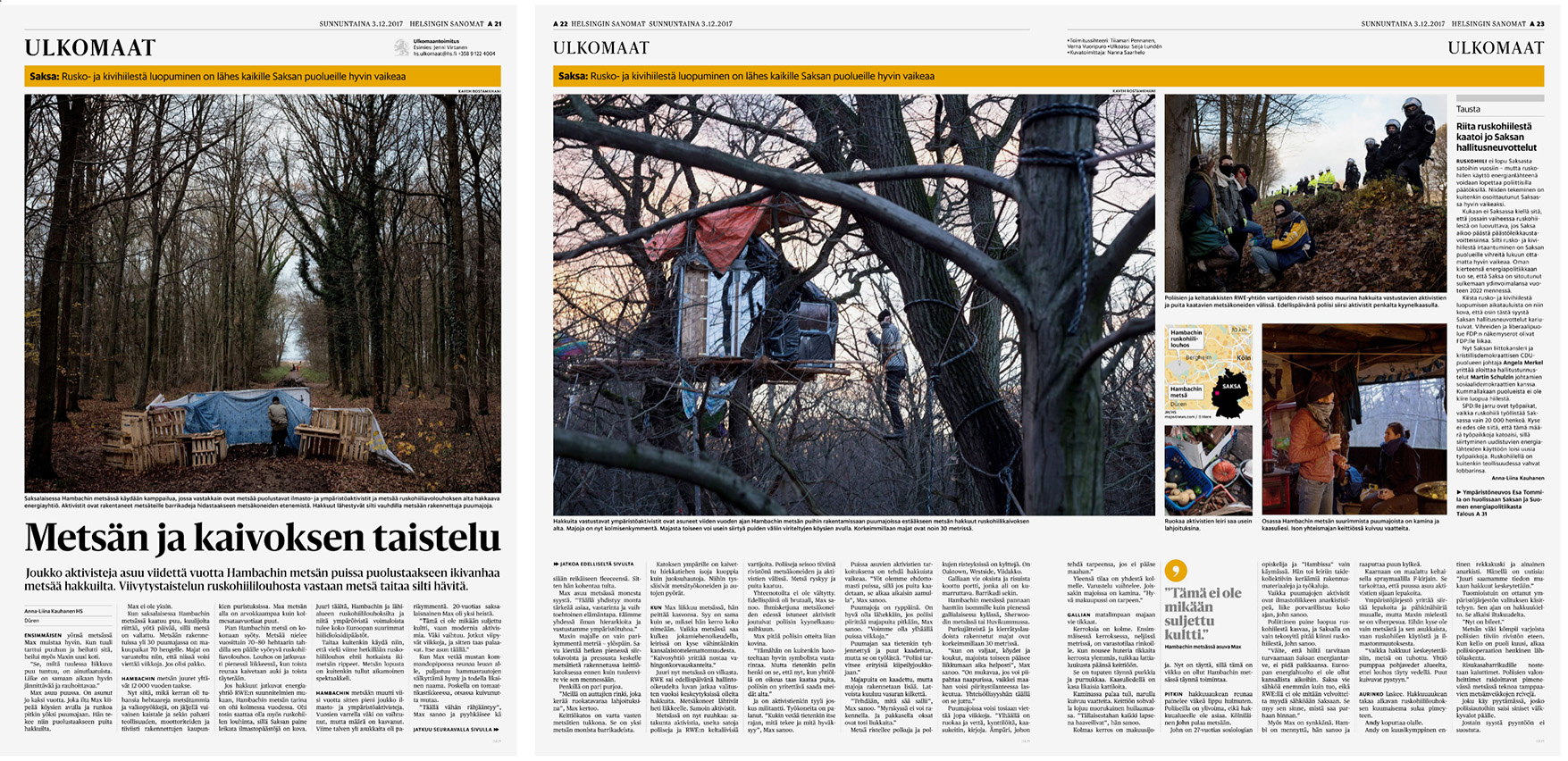 Helsingin Sanomat, Story on environmental activists of the Hambach forest, December 3, 2017.