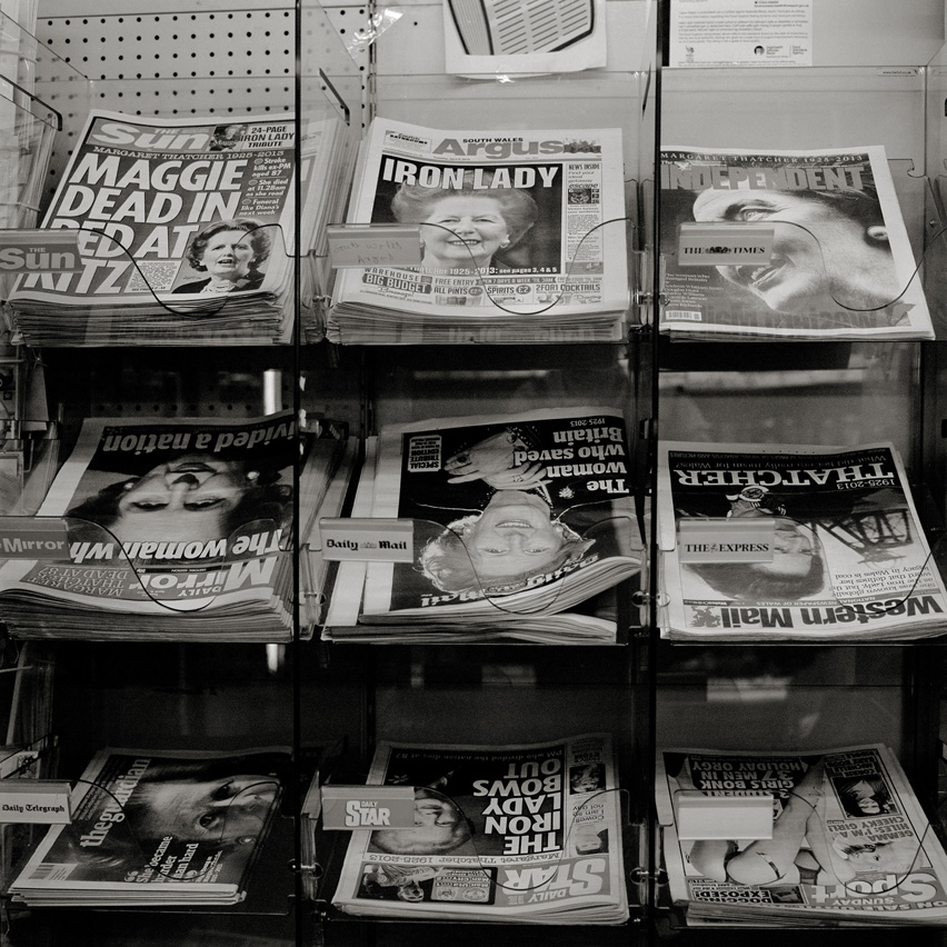 "Front pages at a news stand in Newport show portraits of Margaret Thatcher, the Tory prime minister of Great Britain from 1979 - 1990 who passed away on April 8, 2013. Known as ""The Iron Lady"" her policy led to the defeat of the Miners' Strike 1984/85 and eventually to the privatisation and closure of the coal mines."