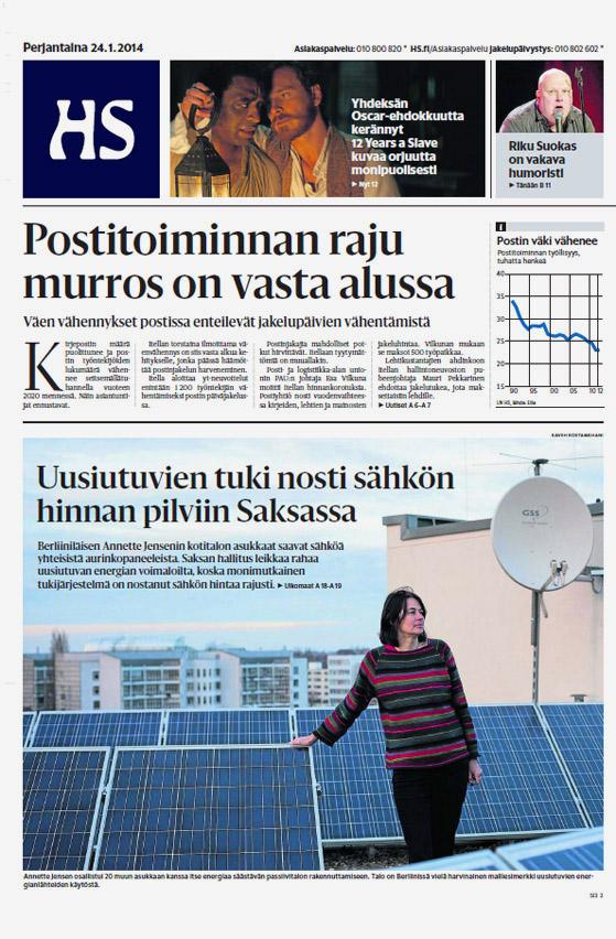 Helsingin Sanomat, front page - January 24, 2014