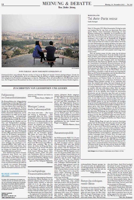 Neue Zürcher Zeitung, December 16, 2013