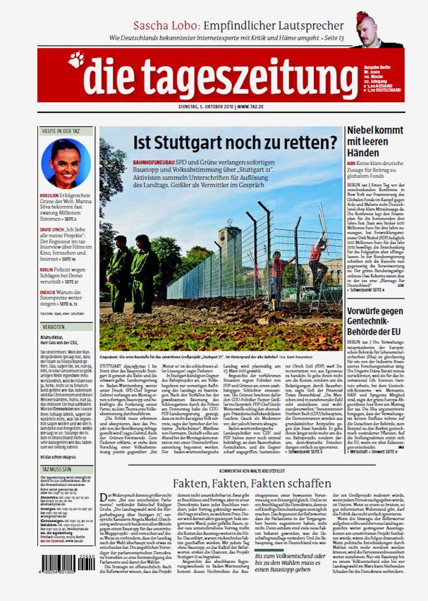 Die Tageszeitung (taz), October 5, 2010