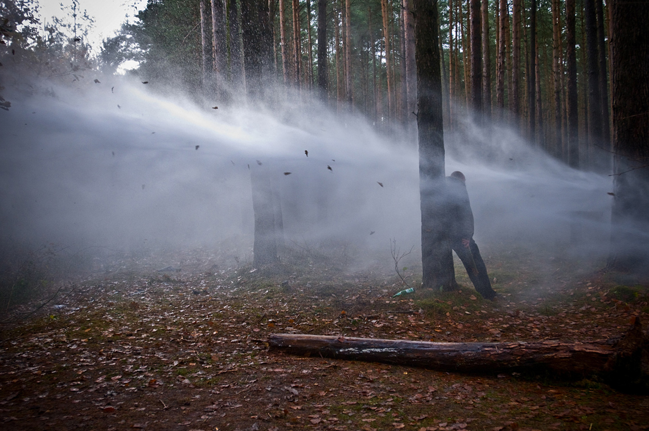 2010. The police uses water cannons to disperse the protesters and activists in the forests surrounding the railway to the Gorleben nuclear waste interim storage facility in Northern Germany as a new transport is scheduled.