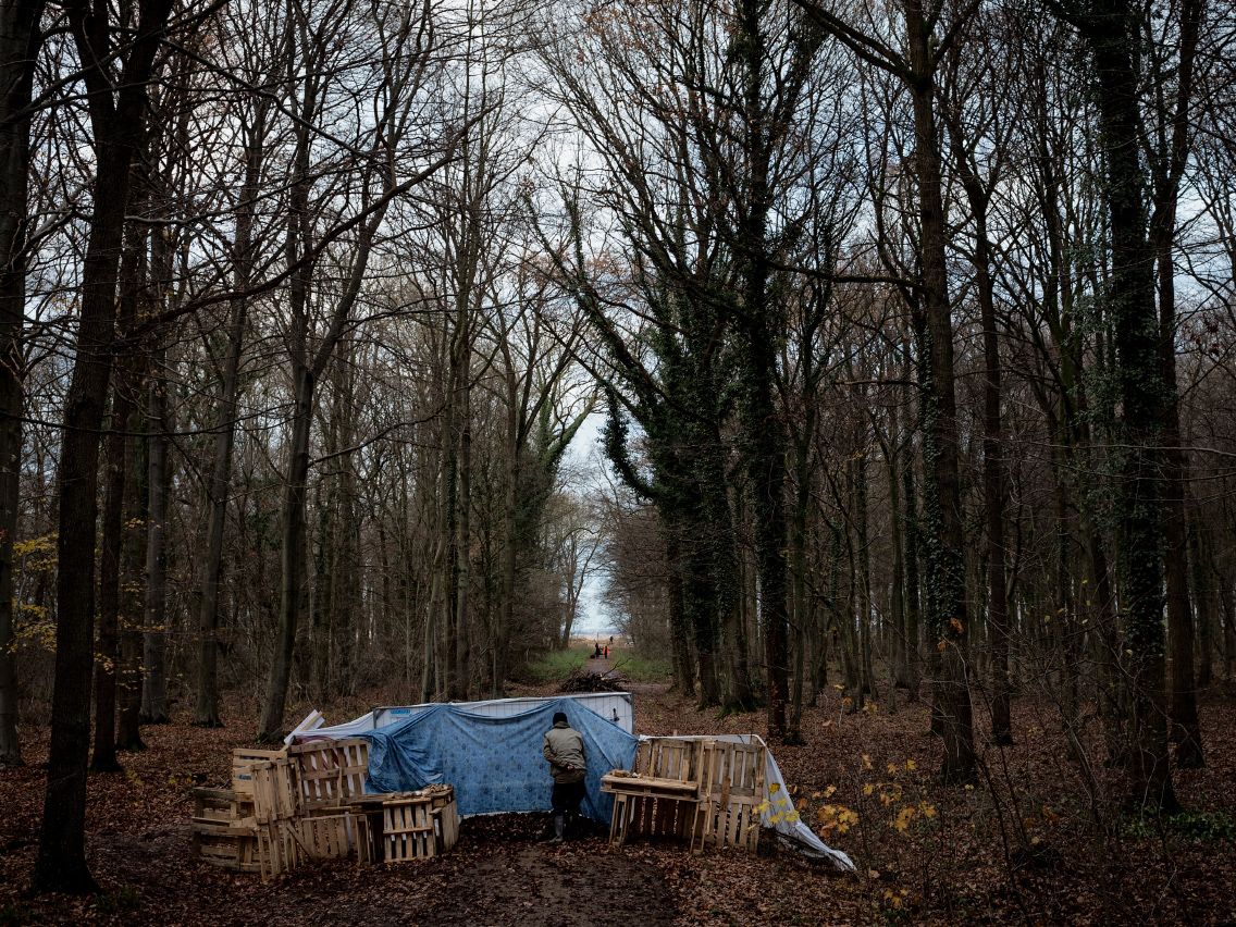 2017. An environment activist peeps through a barricade built to hinder both police and security cars from entering their inhabited and occupied area in the Hambach Forest. The forest which is situated in the German Rhineland is subject to uprooting as the energy giant RWE aims to continuously expand a bordering lignite mine that it owns.